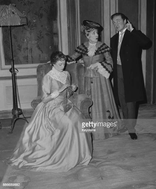 From left to right actors Maggie Smith as Maggie Wylie Fay Compton as the Comtesse de la Briere and Donald Houston as John Shand during a dress...