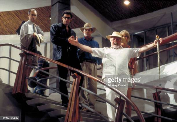 From left to right, actors Martin Ferrero as Gennaro, Jeff Goldblum as Dr. Ian Malcolm, Sam Neill as Dr. Alan Grant, Richard Attenborough as John...