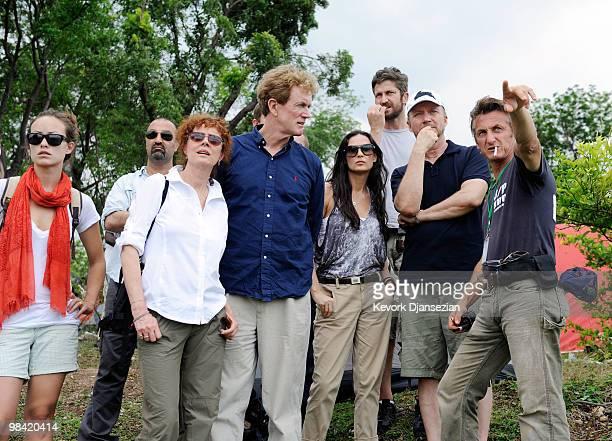 From left to right Actors Olivia Wilde Dr Reza Nabavian Susan Sarandon Dr Bob Arnot Demi Moore Gerard Butler DirectorProducer Paul Haggis visit a...