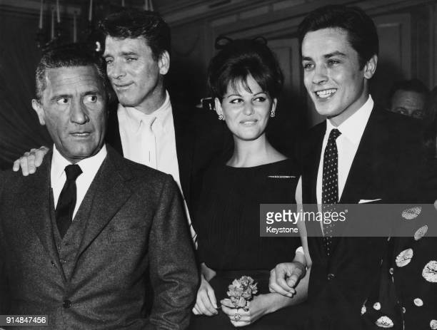 From left to right, actors Paolo Stoppa, Burt Lancaster , Claudia Cardinale and Alain Delon during a press conference for the upcoming Luchino...