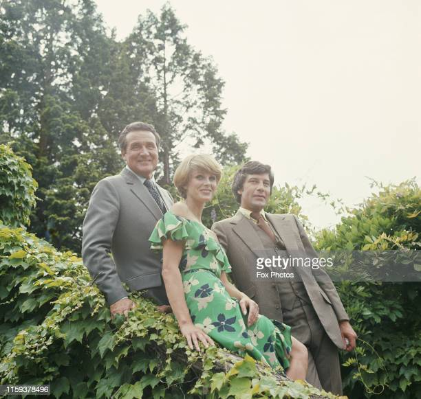 From left to right, actors Patrick Macnee, Joanna Lumley and Gareth Hunt, stars of the television series 'The New Avengers', during production at...