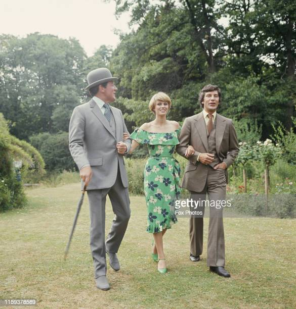From left to right actors Patrick Macnee Joanna Lumley and Gareth Hunt stars of the television series 'The New Avengers' during production at...