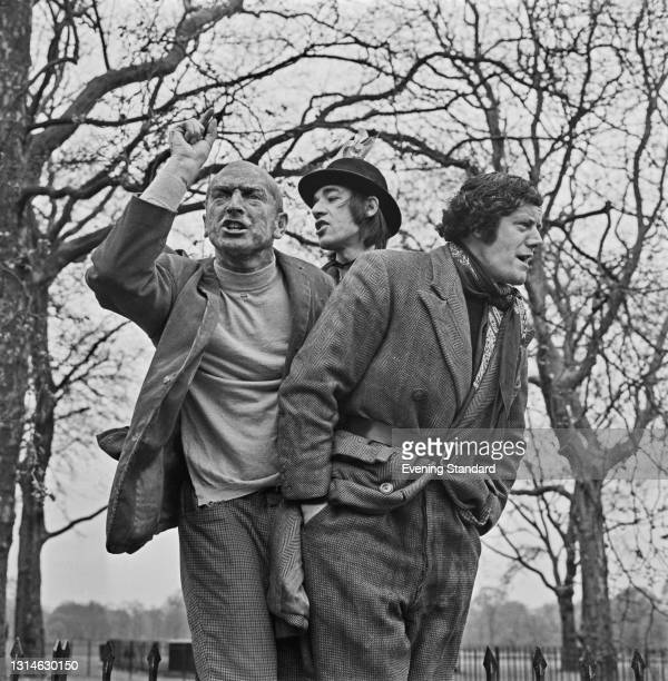 From left to right, actors Paul Freeman, Roger Lloyd Pack and Tony Rohr star in a Joint Stock Theatre Group production of the play 'The Speakers',...