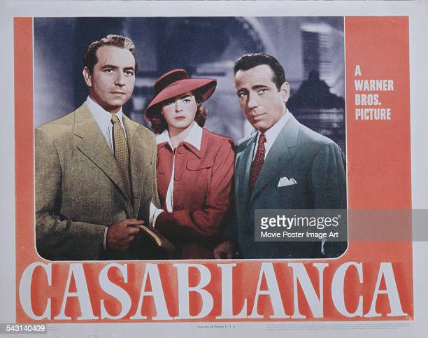 From left to right actors Paul Henreid Ingrid Bergman and Humphrey Bogart form a classic love triangle on a poster for the Warner Bros film...
