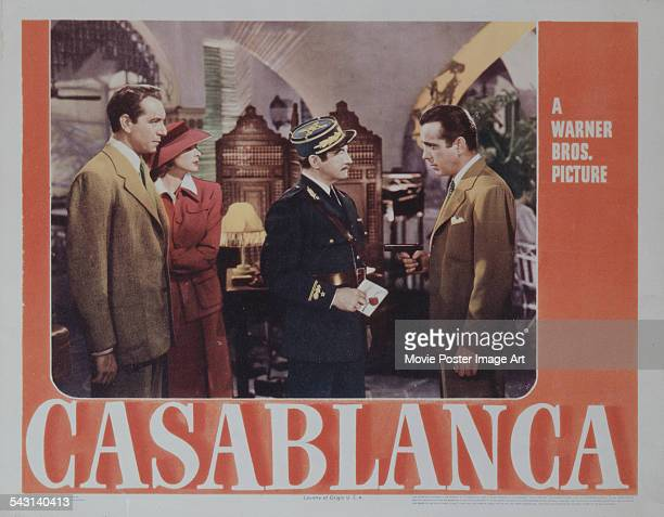 From left to right actors Paul Henreid Ingrid Bergman Claude Rains and Humphrey Bogart appear on a poster for the Warner Bros film 'Casablanca' 1942