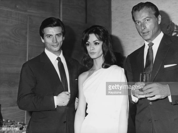 From left to right actors Pierre Brice Marie Versini and Lex Barker stars of the film 'Winnetou 1 Teil' aka 'Winnetou' 12th December 1963 They play...