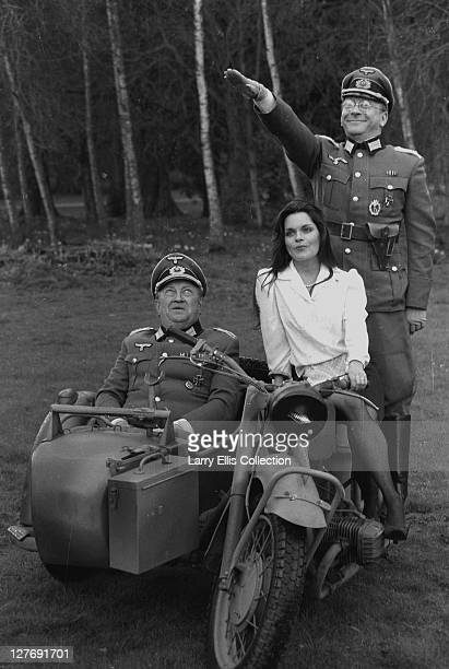 From left to right actors Richard Marner as Colonel Kurt von Strohm Francesca Gonshaw as waitress Maria Recamier and Sam Kelly as Captain Hans...
