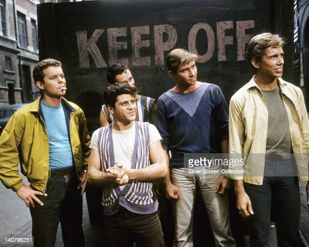 From left to right actors Russ Tamblyn Tony Mordente Tucker Smith and Scooter Teague in a publicity still issued for the film 'West Side Story' USA...