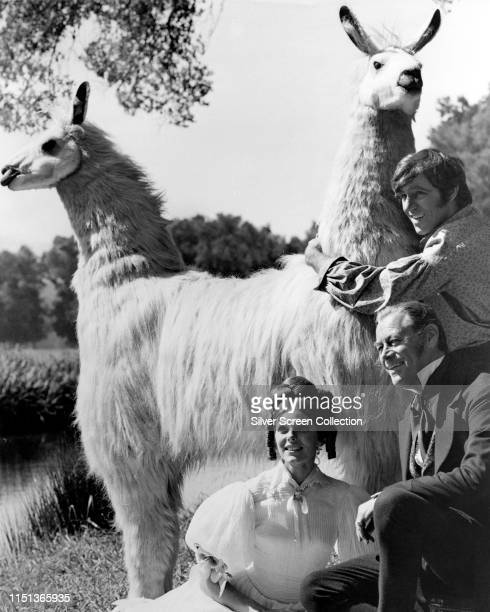 From left to right actors Samantha Eggar as Emma Fairfax Rex Harrison as Dr John Dolittle and Anthony Newley as Matthew Mugg in the musical film...