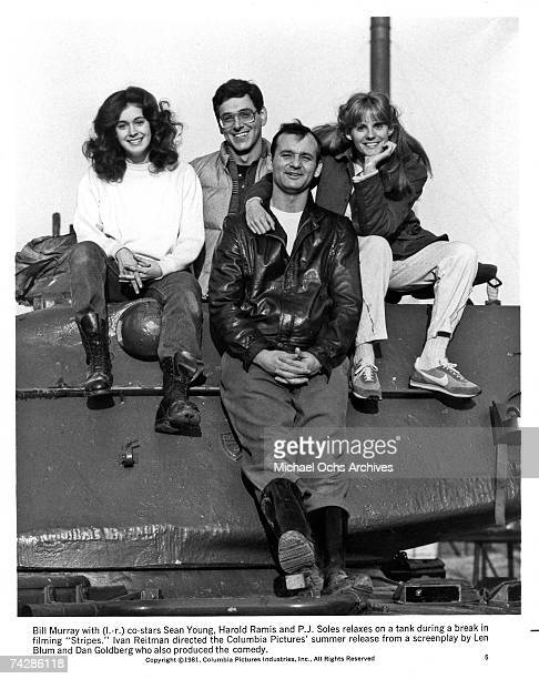 From left to right actors Sean Young Harold Ramis Bill Murray and PJ Soles stars of the film 'Stripes' Photo by Michael Ochs Archives/Getty Images