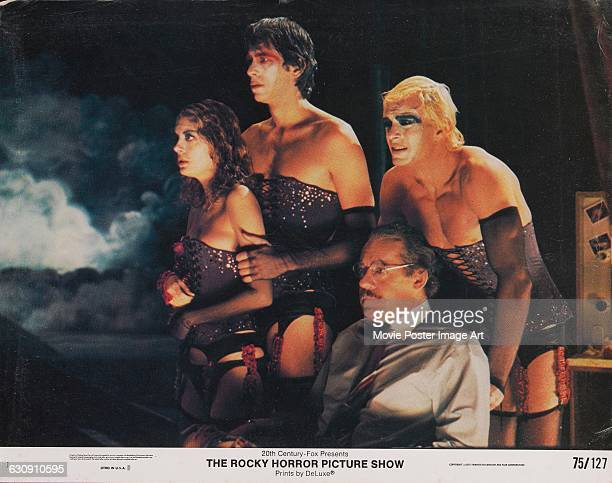 From left to right actors Susan Sarandon Barry Bostwick Jonathan Adams and Peter Hinwood on a lobby card from the 1975 musical comedy 'The Rocky...