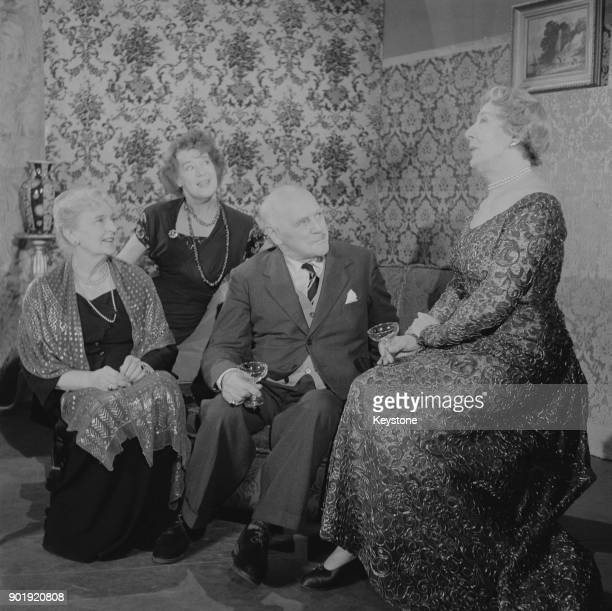 From left to right actors Sybil Thorndike Kathleen Harrison Sir Lewis Casson and Dame Edith Evans during rehearsals for the play 'Waters of the Moon'...