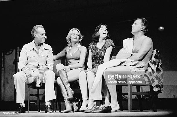 actors Terence Alexander Sally Harrison Jane Downs and Brian Rix pictured together on stage during a performance of the farce 'Fringe Benefits' at...