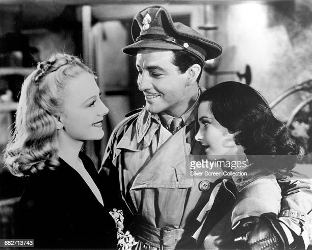 From left to right actors Virginia Field Robert Taylor and Vivien Leigh in a scene from the film 'Waterloo Bridge' 1940