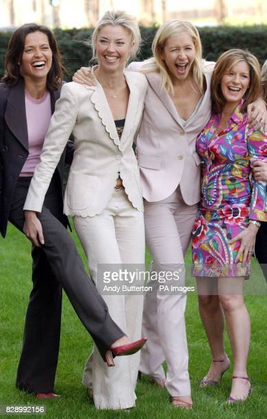 From left to right actress Amanda Stretton socialite Tamara Beckwith TV presenter Tania Bryer and newsreader Andrea Catherwood pose for photographers...