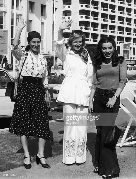 From left to right actress Bernadette Lafont TF1 presenter Evelyne Leclercq and actress MarieFrance Pisier pose on the Croisette during the MIPTV...