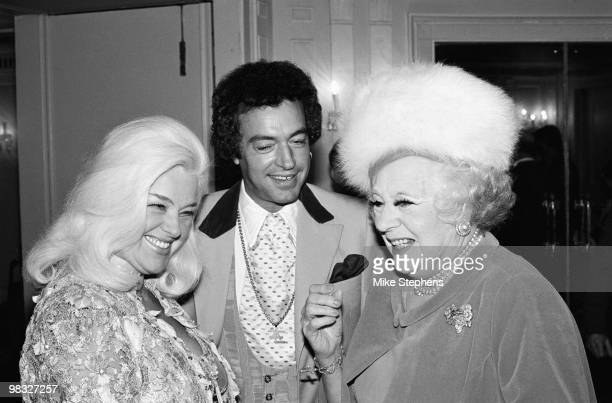 From left to right actress Diana Dors her husband Alan Lake and writer Barbara Cartland attend a Foyles literary luncheon at the Dorchester Hotel in...