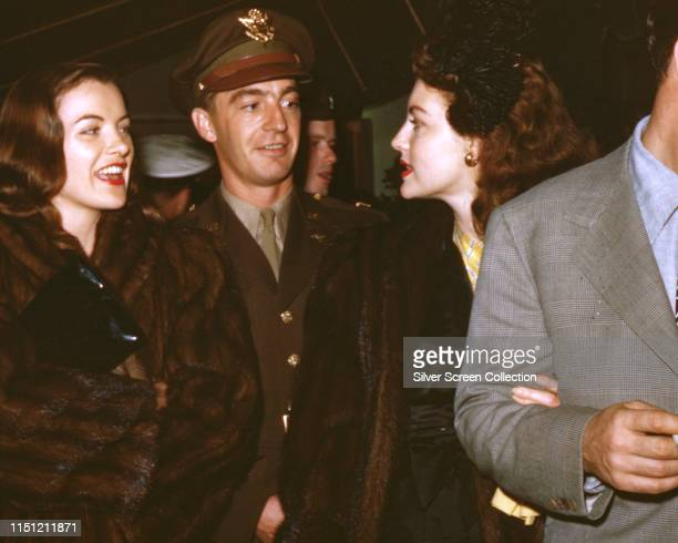 From left to right actress Ella Raines musician Artie Shaw and actress Ava Gardner circa 1945