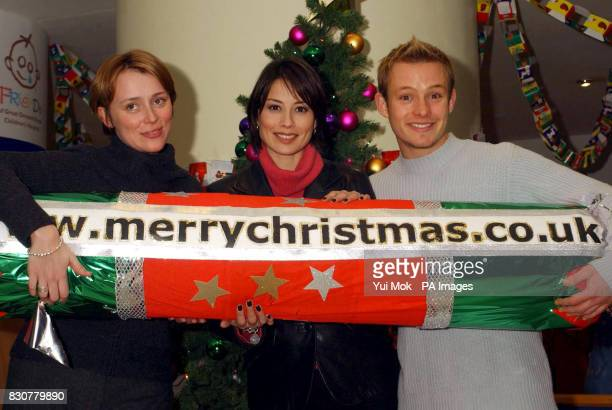 From left to right Actress Keeley Hawes TV presenter Melanie Sykes and actor Adam Rickitt during the launch of the ECard Christmas Appeal sponsored...
