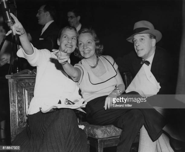 From left to right actresses Beatrice Lillie and Tallulah Bankhead with actor Jack Buchanan during rehearsals for the 'The Big Show' at the London...
