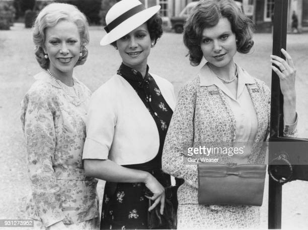 From left to right actresses Connie Booth Francesca Annis and Madeline Smith during the filming of LWT television drama 'Why Didn't They Ask Evans'...