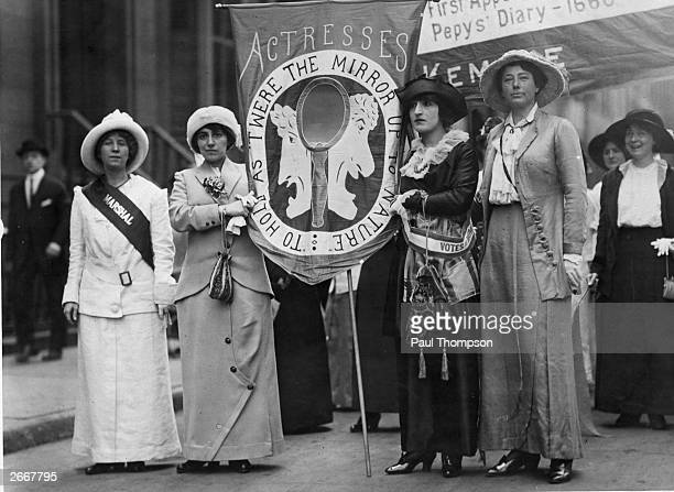 From left to right actresses Fola la Follette Virginia Kline Madame Youska and Eleanor Lawson attend a Women's Suffrage Movement parade to campaign...