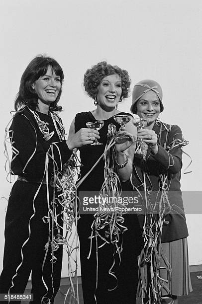 Actresses Judy Loe Rula Lenska and Lucy Gutteridge pictured together at a London Weekend Television promotional party in London on 30th December 1980