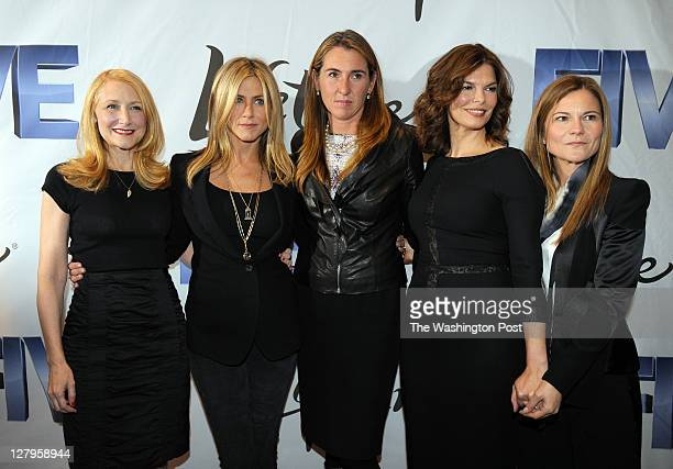 From left to right actresses Patricia Clarkson Jennifer Aniston president of Lifetime Nancy Dubuc actress Jeanne Tripplehorn and executive producer...