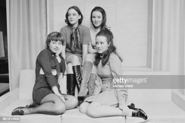 From left to right actresses Shirley Steedman Pamela Franklin Diane Grayson and Jane Carr at a photocall at the Odeon Leicester Square in London a...