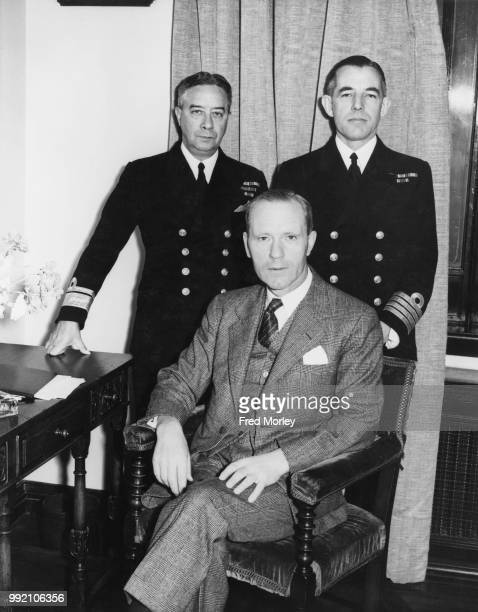 From left to right Admiral Percy Walker Nelles of the Royal Canadian Navy Chief of Naval Staff Angus Lewis Macdonald Canadian Minister of Naval...