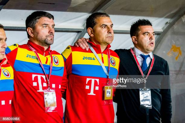 Adrian Mihalcea assistant coach Ionel Gane assistant coach and Cosmin Contra head coach during the World Cup qualifying campaign 2018 game between...