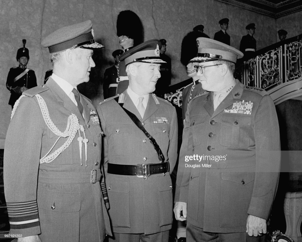 From left to right, Air Chief Marshal Sir Christopher Foxley-Norris (1917 - 2003) of the RAF, General John Gibbon (1917 - 1997) of the British Army, and General Robert E. Cushman Jr. (1914 - 1985) of the US Marine Corps, at the 23rd meeting of the CENTO Military Committee at Lancaster House in London, 11th April 1972.