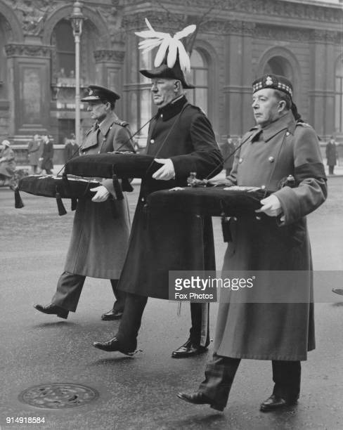 From left to right Air Chief Marshal Sir Ralph Cochrane of the RAF Sir Henry Dalton and MajorGeneral Edmund HakewillSmith of the Royal Scots...