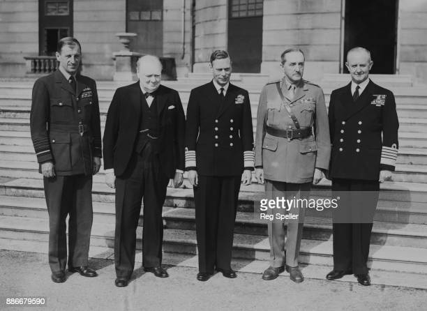 From left to right Air Marshal Sir Charles Portal of the RAF British Prime Minister Winston Churchill King George VI Field Marshal Sir Alan Brooke of...