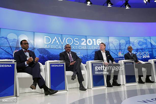 From left to right Akinwumi Ayodeji Adesina president of the African Development Bank Hailemariam Desalegn Ethiopia's prime minister Hans Vestberg...