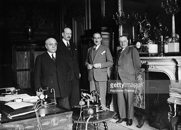 From Left To Right Albert Sarraut Minister Of The Interior PierreEtienne Flandin Minister For Public Works Adrien Marquet Minister For Work And Louis...