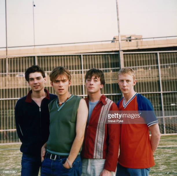 From left to right Alex James Damon Albarn Graham Coxon and Dave Rowntree of British band Blur 20th July 1995