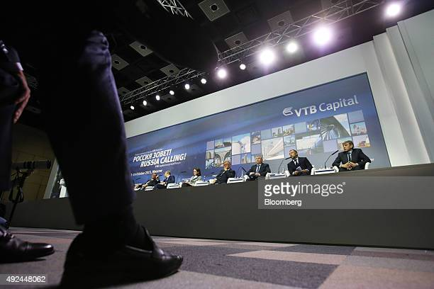 From left to right Alexey Ulyukaev Russia's economy minister Anton Siluanov Russia's finance minister Elvira Nabiullina governor of Russia's central...