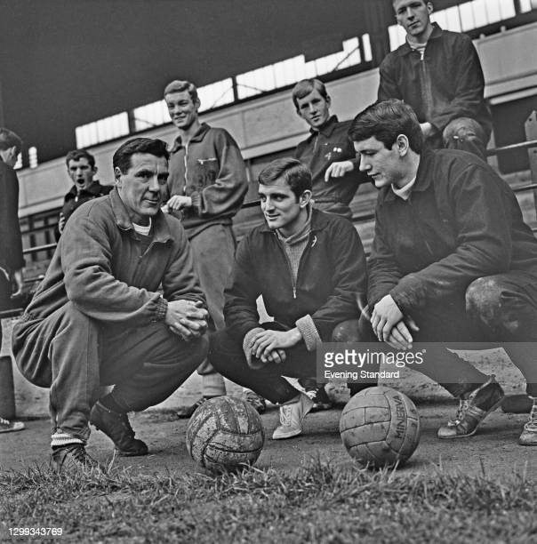From left to right, Allan Brown , manager of Luton Town FC, with team members Ray Whittaker and Bruce Rioch, UK, 8th November 1966.