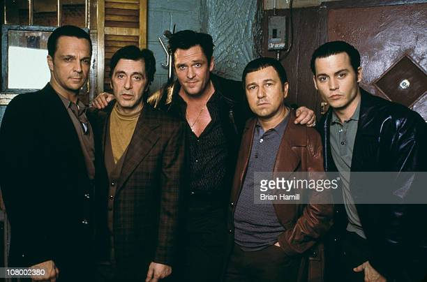 From left to right American actors James Russo Al Pacino Michael Madsen Bruno Kirby and Johnny Depp promote the film 'Donnie Brasco' 1997