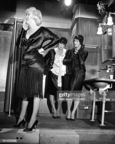 From left to right American actors Marilyn Monroe Tony Curtis and Jack Lemmon on the set of the comedy 'Some Like It Hot' 1959