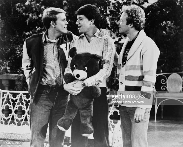 From left to right, American actors Ron Howard, Anson Williams and Donny Most in a scene from the television sitcom 'Happy Days', circa 1975.