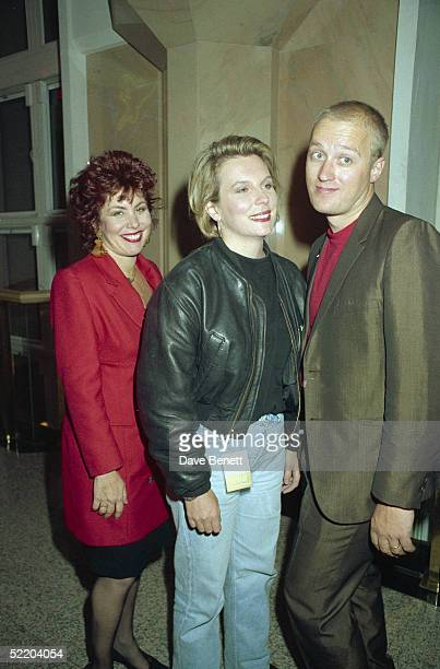 From left to right American comedienne Ruby Wax with married British comics Jennifer Saunders and Adrian Edmondson September 1989
