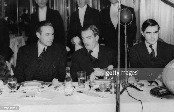 From left to right American diplomat W Averell Harriman Anthony Eden the British Foreign Secretary and John Gilbert Winant the US Ambassador to the...