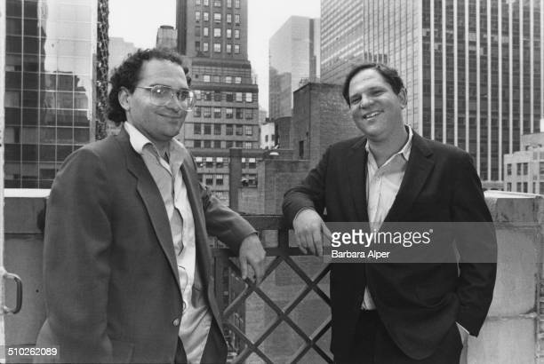 From left to right American film producers Bob Weinstein and his brother Harvey Weinstein of Miramax Films New York City 21st April 1989