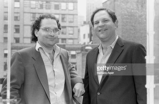 From left to right American film producers Bob Weinstein and his brother Harvey Weinstein of Miramax Films New York City 21st April 1989April 21 1989