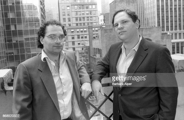 From left to right American film producers Bob Weinstein and his brother Harvey Weinstein of Miramax Films New York City 21st April 1989 April 21 1989