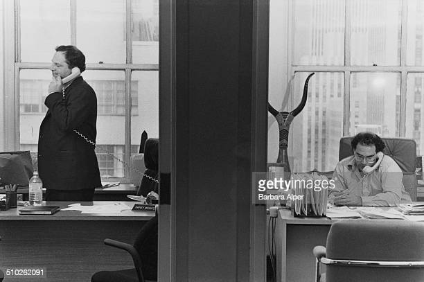 From left to right American film producers Harvey Weinstein and his brother Bob Weinstein of Miramax Films at their offices in New York City 21st...