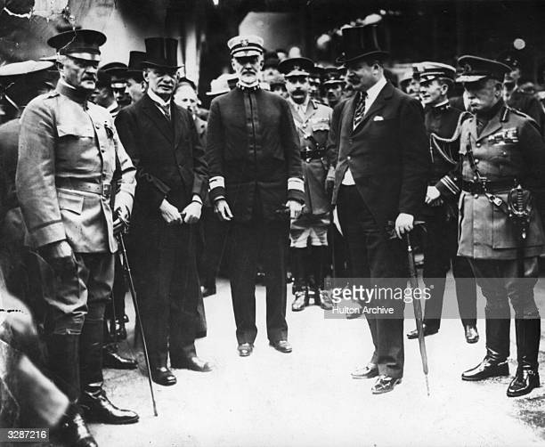 From left to right American General John Pershing American Ambassador Walter Page American Admiral William Sims British Minister of War Edward george...