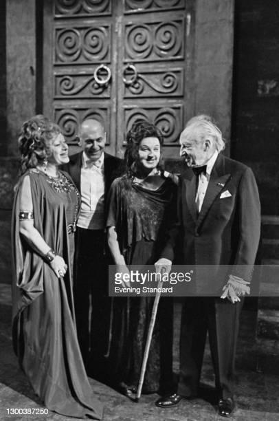 From left to right, American opera singer Regina Resnik , conductor Sir Georg Solti , Swedish soprano Birgit Nilsson and conductor Leopold Stokowski...